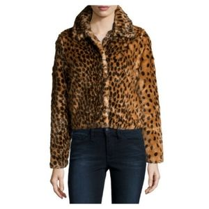 Dex leopard print faux fur coat